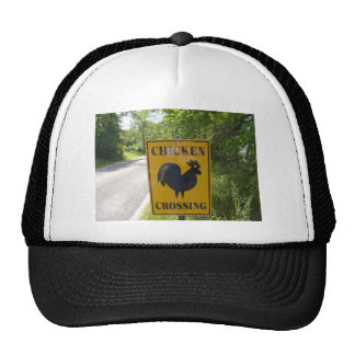 chicken crossing trucker hat