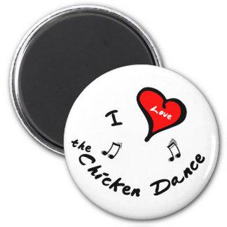 Chicken Dance Items - I Heart 2 Inch Round Magnet