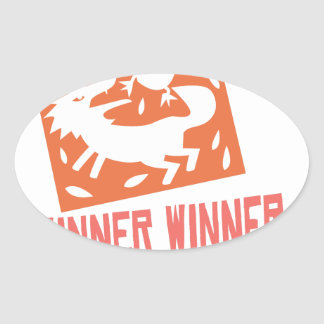 Chicken Dinner! Oval Sticker