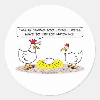 chicken doctor induce hatching egg classic round sticker