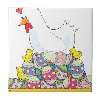 Chicken Easter Eggs Ceramic Tile