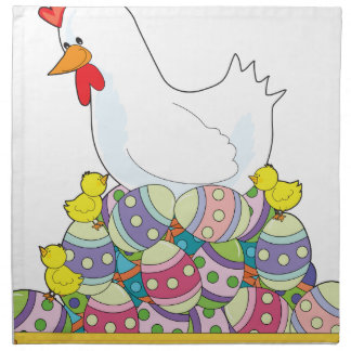 Chicken Easter Eggs Printed Napkins