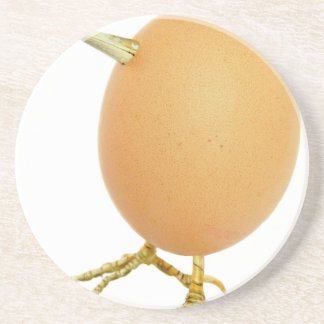 Chicken egg as bird with beak and legs coaster