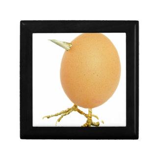 Chicken egg as bird with beak and legs gift box
