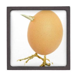 Chicken egg as bird with beak and legs jewelry box
