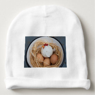 Chicken & eggs baby beanie