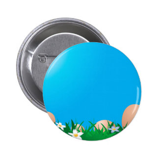 Chicken eggs on the grass pinback button