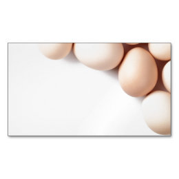Chicken Eggs On White Background Magnetic Business Card