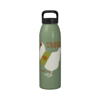 Chicken Enlisted for WWI Water Bottles