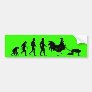 Chicken evolution car bumper sticker
