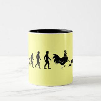 Chicken evolution Two-Tone mug