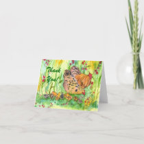 Chicken Family Bird Thank You Card Watercolor