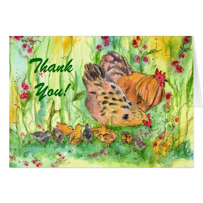 Chicken Family Bird Thank You Card Watercolor
