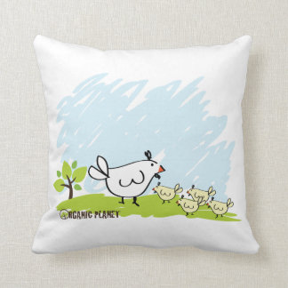 Chicken Family Organic Planet Throw Pillows