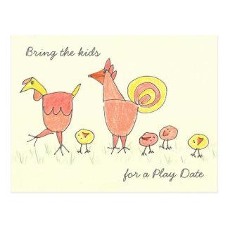 Chicken Family Play Date Postcard Invitation