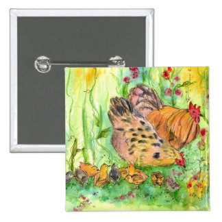 Chicken Family Rooster Hen Birds Square Pin