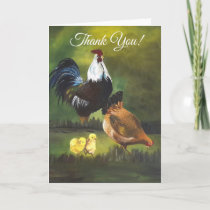 Chicken Family Rooster Hen Blank Thank You Card