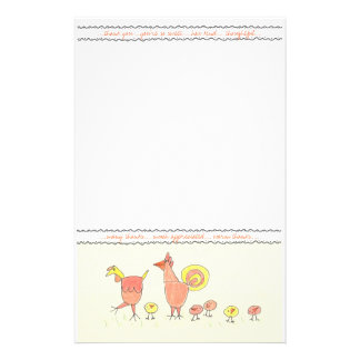 Chicken Family Thank You Note Paper Stationery