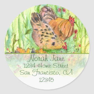 Chicken Family Watercolor Birds Return Address Classic Round Sticker