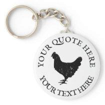 Chicken farm animal silhouette custom keychain