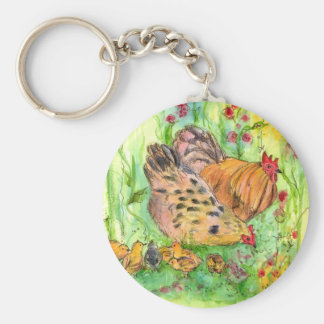 Chicken Farm Animals Watercolor Bird Drawing Keychain