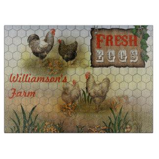 Chicken Farm Yard Fresh Eggs Vintage Cutting Board