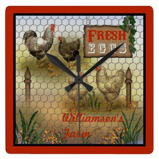 Chicken Farm Yard Fresh Eggs Vintage Square Wall Clock