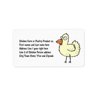 Chicken Farmer Cartoon Hen Address Label