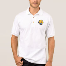 Chicken Farmer Pitchfork Circle Cartoon Polo Shirt