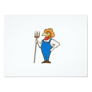 Chicken Farmer Pitchfork Isolated Cartoon Card