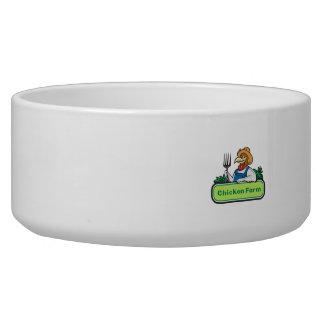 Chicken Farmer Pitchfork Vegetables Cartoon Bowl