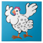Chicken flapping her wings ceramic tiles