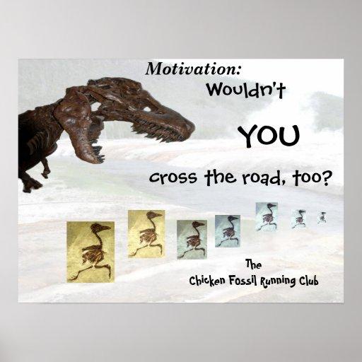 Chicken Fossil Running Club Inspirational Design Print