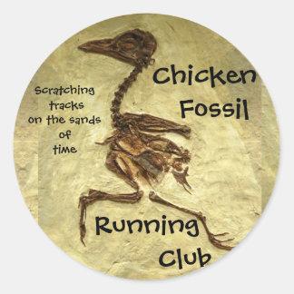 Chicken Fossil Running Club Scratching Tracks Classic Round Sticker