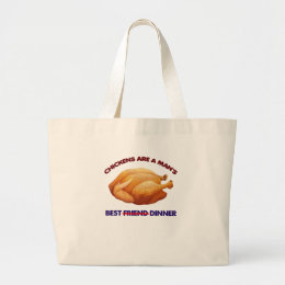 chicken, friend dinner gift t shirt large tote bag