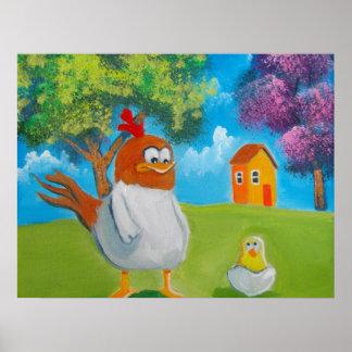 Chicken hen cute folk art illustration poster