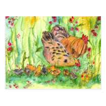Chicken Hen Family Bird Watercolor Painting Postcard