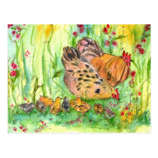Chicken Hen Family Bird Watercolor Postcard