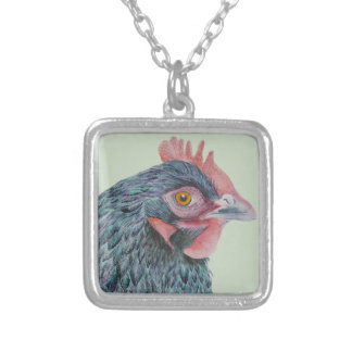 Chicken Hen Farmyard Bird Watercolor Painting Silver Plated Necklace