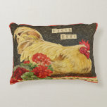 "Chicken/hen nesting with geraniums pillow<br><div class=""desc"">Fun chicken/hen nesting with geraniums &amp; &#39;Fresh eggs&#39; pillow.</div>"