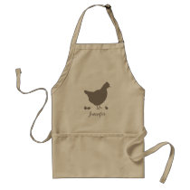 Chicken Hen Silhouette In Brown With Custom Name Adult Apron