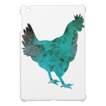 Chicken Hen Teal Blue on White Background iPad Mini Case