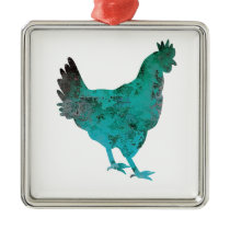 Chicken Hen Teal Blue on White Background Metal Ornament