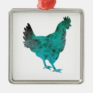 Chicken Hen Teal Blue on White Background Metal Ornament