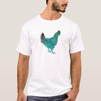 Chicken Hen Teal Blue on White Background T-Shirt