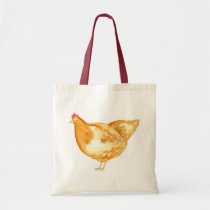 Chicken Hen Watercolor Tote Bag
