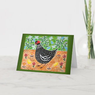 Chicken Hen with two Chicks, Farm Art, mothers day Card