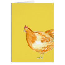 Chicken Hen Yellow Thank You Card