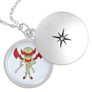 Chicken hero monster round locket necklace
