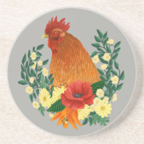 Chicken Home Decor Floral Rooster Coaster